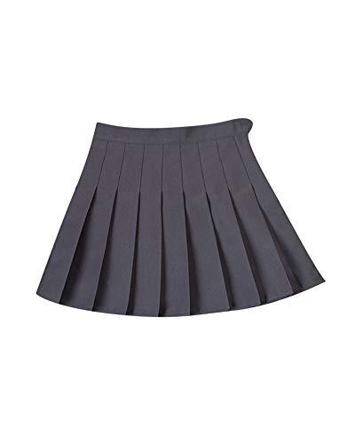 Shaoyao Mujer Plisadas Alta Cintura Uniformes Estudiantiles Faldas Básica Falda Gris XS
