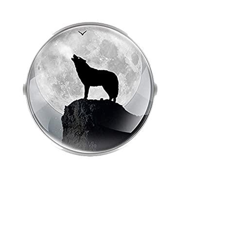 CLEARNICE Moda Lobo Mano Diseño Broches Decoración Collar Pin Cúpula Convexa De Vidrio Accesorios Frescos Regalo