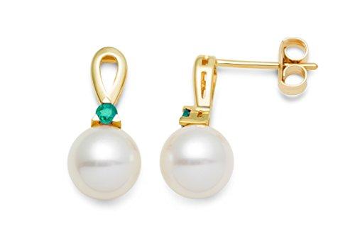 Miore Damen-Ohrringe 9 Karat (375) Gelbgold weiße Süßwasser-Zuchtperlen und Smaragd