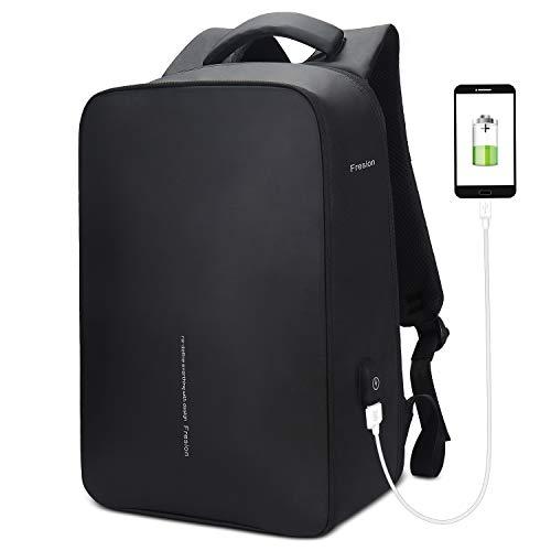 Fresion Laptop Rucksack für Herren, Business Reiserucksack - Stylischer Notebook Rucksäcke mit 2.0 USB Port, Rucksack für Arbeit groß Rucksack für 15,6 Zoll Laptops, Schwarz
