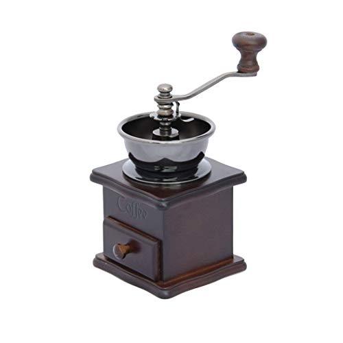 QHYY Feste Retro Holz Kaffee-Maschine Edelstahl-Kern Kaffeemühle Hand Kaffeemühle