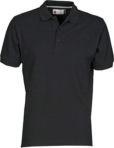 PAYPER Herren Polohemd Venice 100% Baumwolle Größe S bis 5XL Kurzarm 3 Knöpfe Nackenband, Farbe:Black;Größe:L