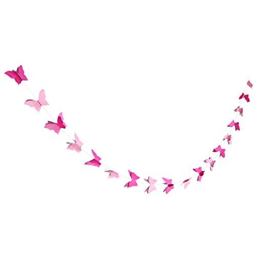 Baoblaze 3D Farfalla Appesa Carta Banner Matrimonio Compleanno Festa Ghirlanda Catena Art Decor - Rosa