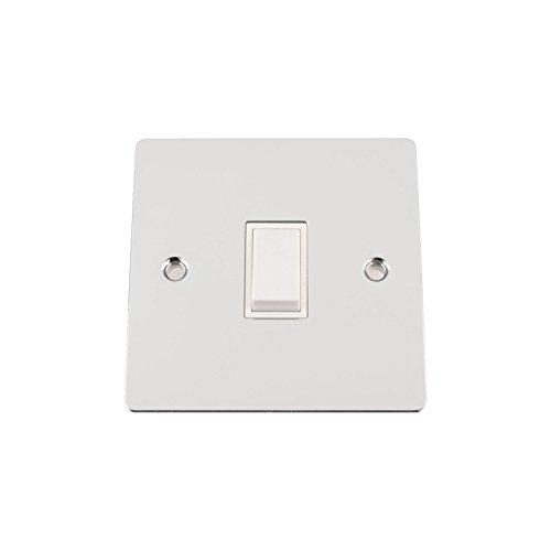 A5 A5 SWI1GCFWH - 10 de 2 vías interruptor de la luz plana cromo pulido única de 1 elemento con inserto de plástico blanco