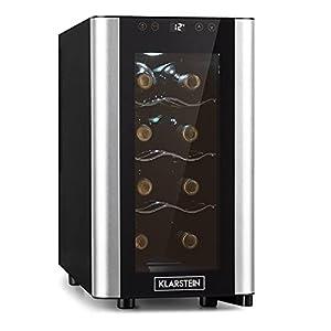 KLARSTEIN Reserva Slim Uno - cave à vin, 23 litres / 8 bouteilles, Température 11-18 °C, silencieuse : 26 dB, 3 clayettes métalliques, éclairage LED, protection anti UV - noir