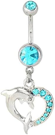 Aqua Lt Blue Dolphin Love Heart Dangle Belly Button Navel Ring Piercing bar Body Jewelry 14g