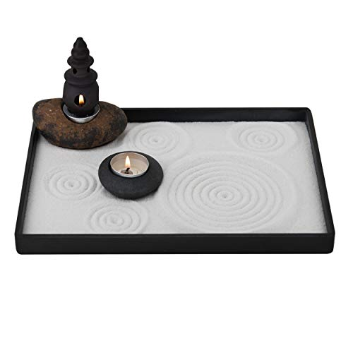 ICNBUYS Handmade Zen Garden Pebble Tealight Candle Holder Set Censer with Free Zen Garden Tools,...