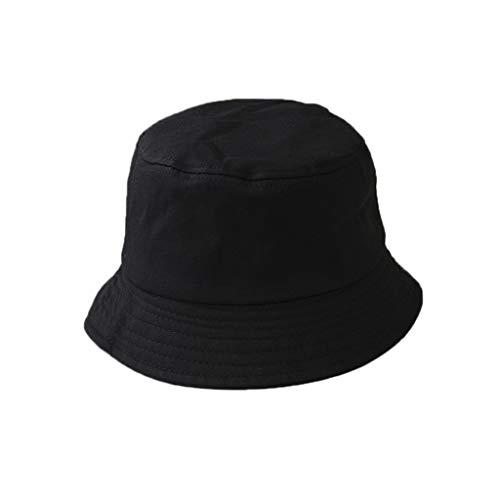 Karrychen Sombrero de Cubo Plegable de Verano para niños y Adultos Coreanos Color sólido Hip Hop de ala Ancha Playa Protección UV Tapa Redonda Protector Solar Gorra de Pescador - Negro # Niño