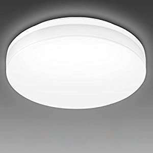 LE Flush Mount LED Ceiling Light for Bathroom Porch, Waterproof IP54, Daylight White 5000K, 9 inch 15W 1500lm 120W Equivalent Ceiling Fixture for Kitchen, Laundry Room, Hallway, Basement, Non Dimmable