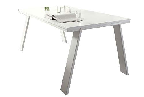LIVNY - Ligero lacado blanco mate para comedor, moderno, mesa de comedor y patas de metal