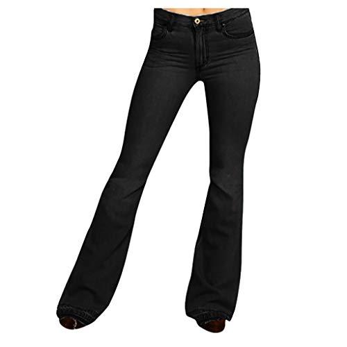 Jeans éVaséS pour Femmes Taille Mi-Haute Bell Stretch Slim Pantalon Longueur Femme Large Jean Regular Basse Haute Skinny Fit Denim Troué Pantalons Jeggings Rétro