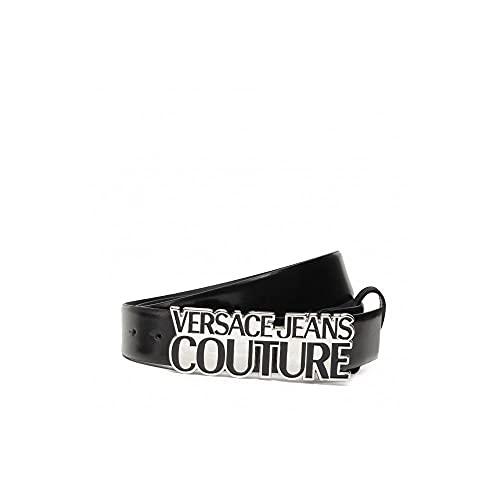 Versace Jeans Couture Silver Buckle Cinturón de cuero negro, Negro, 95 cm