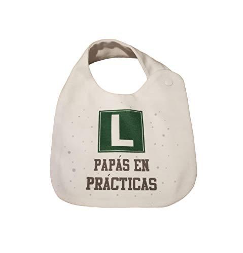 BABERO ALGODON FRASE' L PAPAS EN PRACTICAS'.REGALO BEBE.REGALO RECIEN NACIDO