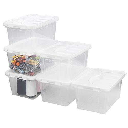 Kiddream - Juego de 6 cubos de plástico transparente, caja de almacenamiento con asa (blanco)