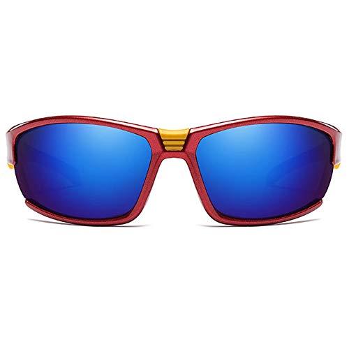 LCSD Gafas de sol para deportes al aire libre, material de metal, gafas de sol coloridas, marco azul, lente azul para hombres y mujeres con el mismo párrafo, lentes polarizadas Sandstorm (color: rojo)