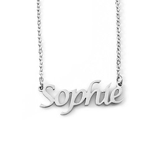Kigu Sophie Personalized Name - Silver Tone Necklace - Adjustable Chain 16' - 19' Packaging