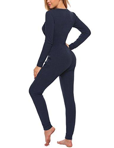 UNibelle Damen Hausanzug Onesie Thermowäsche mit Knopfleiste Nachtwäsche Schlafanzug Navy Blau - 5