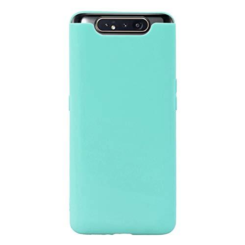 YINCANG Capa macia ultrafina fosca flexível TPU silicone gel borracha à prova de choque para Samsung Galaxy A80 azul celeste