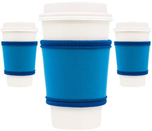 MOXIE Kaffeebecher Sleeves - Premium Neopren Isoliert Wiederverwendbare Kaffee & Tee Cup Sleeves - Am besten für 12 oz-24 oz Tassen at Starbucks, McDonalds, Peets, Karibu Kaffee (3er Pack, Blau)