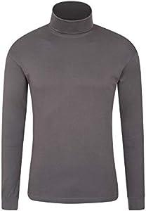 Mountain Warehouse Camiseta térmica Interior Meribel para Hombre - 100% algodón Peinado, Cuello Vuelto, Transpirable, Secado rápido y Mangas Ajustadas, fácil Cuidado, Invierno Gris Oscuro L