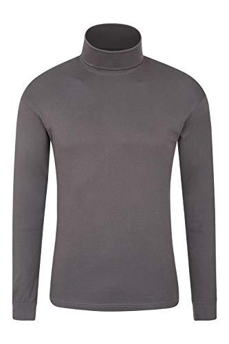 Mountain Warehouse Camiseta térmica Interior Meribel para Hombre - 100% algodón Peinado, Cuello Vuelto, Transpirable, Secado rápido y Mangas Ajustadas, fácil Cuidado, Invierno Gris Oscuro S