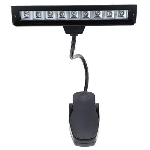 XUSHEN-HU LED 9 LED lámpara de lectura luz de lectura lámpara clip de escritorio para piano música partitura soporte negro interior