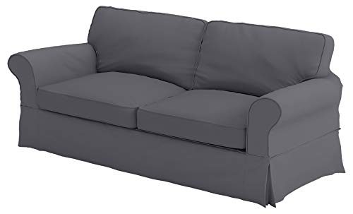 The Cotton Sofa Cover Only Fits Pottery Barn PB Comfort Grand Roll Arm Sofa. A Durable Sofa Slipcover Replacement (Dark Gray Box Edge)