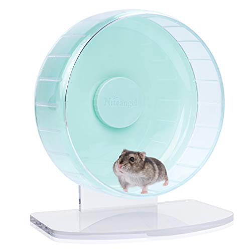 Niteangel Super-Silent Hamster Exercise Wheels: - Quiet Spinner Hamster Running Wheels with Adjustable Stand for Hamsters Gerbils Mice Or Other Small Animals (S, Mint Green)