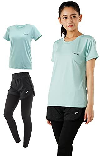 Flexia フレキシア [ UPF50+ 99%紫外線カット ] スポーツウェア レディース 上下セット 半袖 Tシャツ パンツ ヨガウェア ランニングウェア トップス 大きいサイズ セット (ミントグリーン, L)