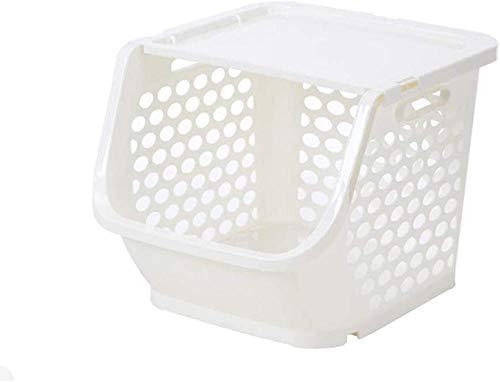 Cestas de almacenamiento Cesta de plástico multifuncional de almacenamiento apilable Cestas de frutas y verduras para el hogar para frutas