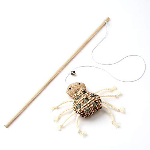 anijoy Katzenangel TEKLA   spannendes Federspielzeug am Holzstab mit flexiblem Gummiband mit Glöckchen weckt den Jadinstinkt der Katze