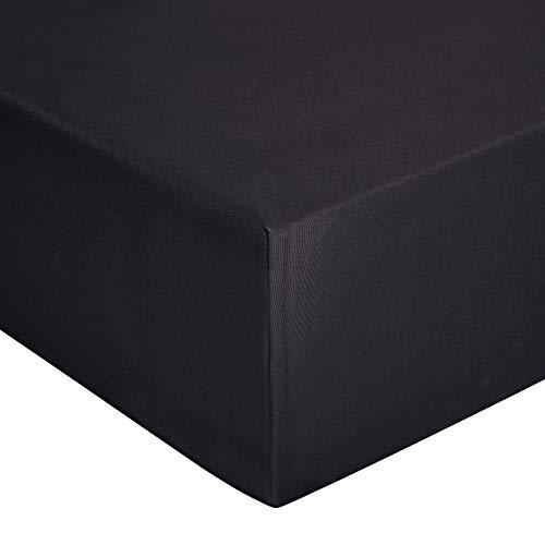 Amazon Basics - Sábana bajera de jersey, Negro - 160 x 200 cm