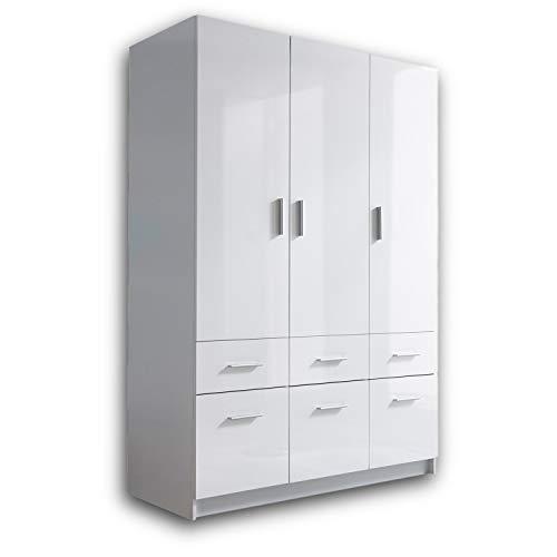 HAGEN Eleganter Kleiderschrank 3-türig mit viel Stauraum - Vielseitiger Drehtürenschrank in Weiß, Front Hochglanz Weiß - 135 x 195 x 57 cm (B/H/T)
