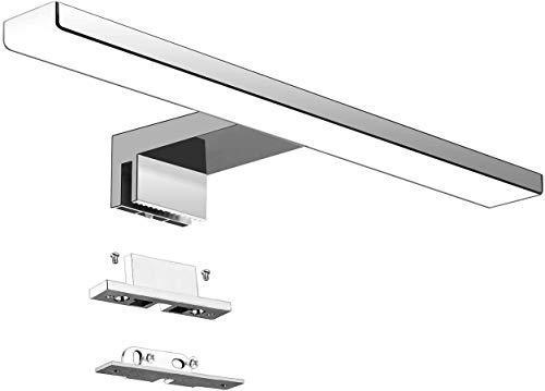 Aourow Lámpara de Espejo Baño LED 5W 230V 500lm,a Prueba de Agua IP44 30cm,3 en 1,Fije en el Espejo +en el Gabinete+en la Pared,Luz Blanca Neutra 4000K,Contra Niebla Acero Inoxidable,300x105x40mm