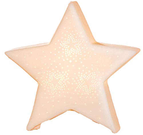 Gilde - Porzellan-Lampe Stern - Winterliche Tischleuchte Nachttischlampe Nachttischleuchte Stimmungslampe Weiss 25cm