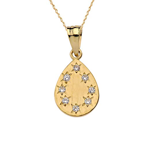 9 ct Gold Yellow Gold Hammered Diamond Teardrop Pendant Necklace Necklace (Available Chain Length 16'- 18'- 20'- 22') B