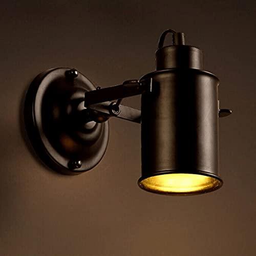Soltero Metal Negro Ajustable Estilo Vintage Sconce Lámpara Rotatable Foco de Foco Redondo Iluminación Accesorio para sala de estar, Dormitorio, Pasillo del Porche 1 x 40 W E27 Bases ligeras