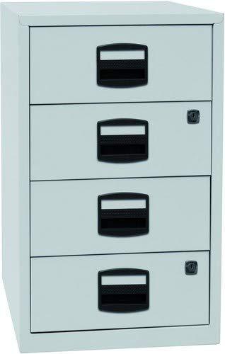 Bisley Home Beistellschrank PFA, 4 Universalschubladen, Metall, 645 Lichtgrau, 40 x 41.3 x 67.2 cm