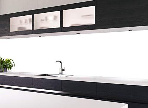 KLINOO Küchenrückwand aus Folie als Spritzschutz - zuschneidbar und erweiterbar - 96cm x 68cm (Weiss)