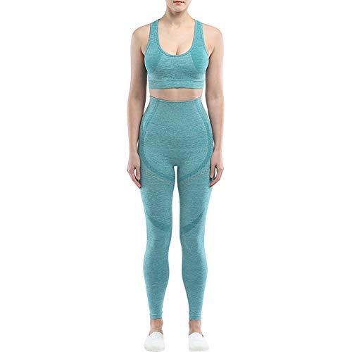 2 Piezas Yoga Traje De Deporte para Mujer Conjunto Transparente Trajes De Yoga Entrenamiento De Talle Alto Establece Las Polainas De Los Crop Top (Verde M)