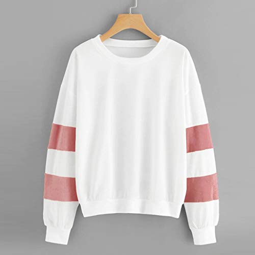 Vrouwen Sweatshirt Truien Fluffy Kleur Blok Lente En Herfst Warm Hip-pop Lange Mouw O-Hals Blouse Patchwork Topjes