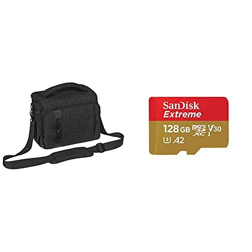 PEDEA DSLR-Kameratasche Fashion Fototasche für Spiegelreflexkameras, Gr. XL schwarz & SanDisk Extreme microSDXC UHS-I Speicherkarte 128 GB + Adapter & Rescue Pro Deluxe