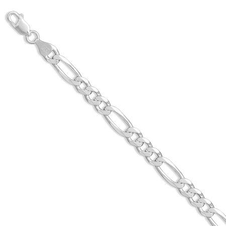 Pulsera de plata de ley 925 con cadena Figaro de 7 mm de ancho con cierre de langosta para mujer, 20 cm
