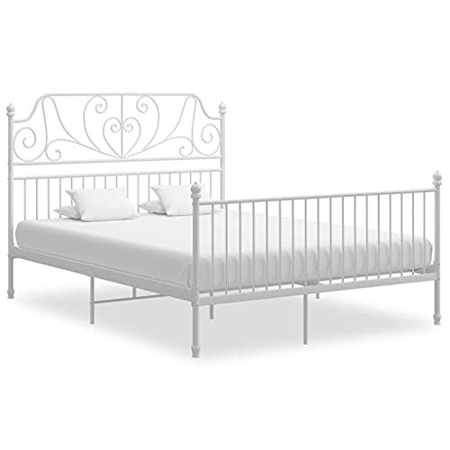 vidaXL Sperrholz Bettgestell Bett Metallbett Schlafzimmerbett Doppelbett Bettrahmen Lattenrost Schlafzimmermöbel Weiß Metall 140x200cm