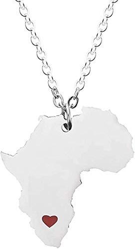 Collar África España Italia Brasil Mapa Colgante Collar para Mujeres Hombres Joyería de Acero Inoxidable Collar Hiphop Collar