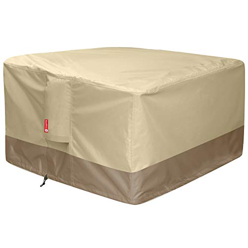 "Gas Fire Pit Cover Square - 600D Heavy Duty Patio Outdoor Fire Pit Table Cover with PVC Coating,100% Waterproof,Air Vents,Fits for 34 / 35 / 36 inch Fire Pit / Table Cover (36""L x 36""W x 24""H,Beige)"