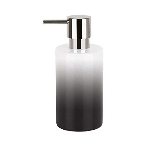 Spirella 7 x 7 x 16 cm, Negro colección Tube, Dispensador de jabón líquido, Porcelana