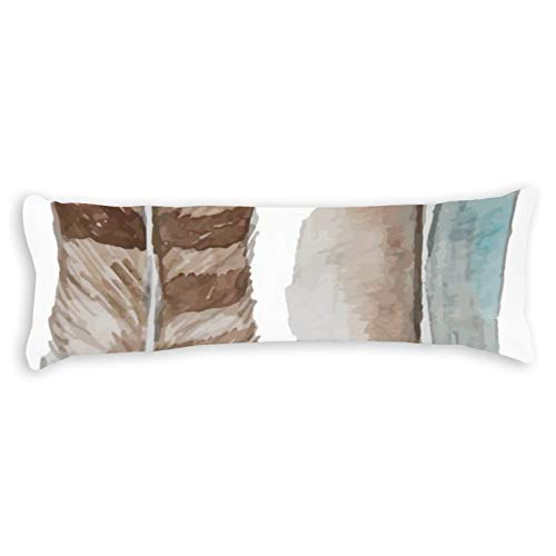 Promini Feathers Watercolor Brown Blue Grey Body Pillow Cover Pillowcases Cushion with Hidden Zipper Closure for Sofa Bench Bed Home Decor 20'x54'