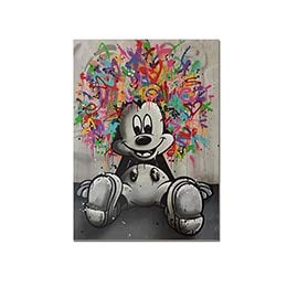 N / A Graffiti Wall Mouse Canvas Poster and Print Canvas Painting Office Bedroom Decoration Frameless 30x40cm