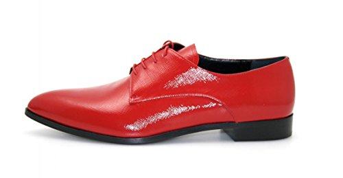 Prada Damen Rot Saffiano Leder Schnürschuhe 1E259E 39.5 EU